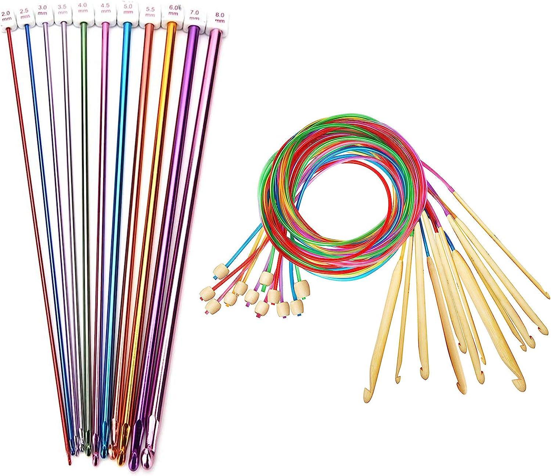 23 Pcs Tunisian Fashionable Discount mail order Crochet Hooks Afghan Aluminum 11pcs Set