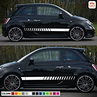 Side Stripes Kit Decal Sticker Vinyl Kit Compatible with Fiat 500 Abarth Hatchback Coupe