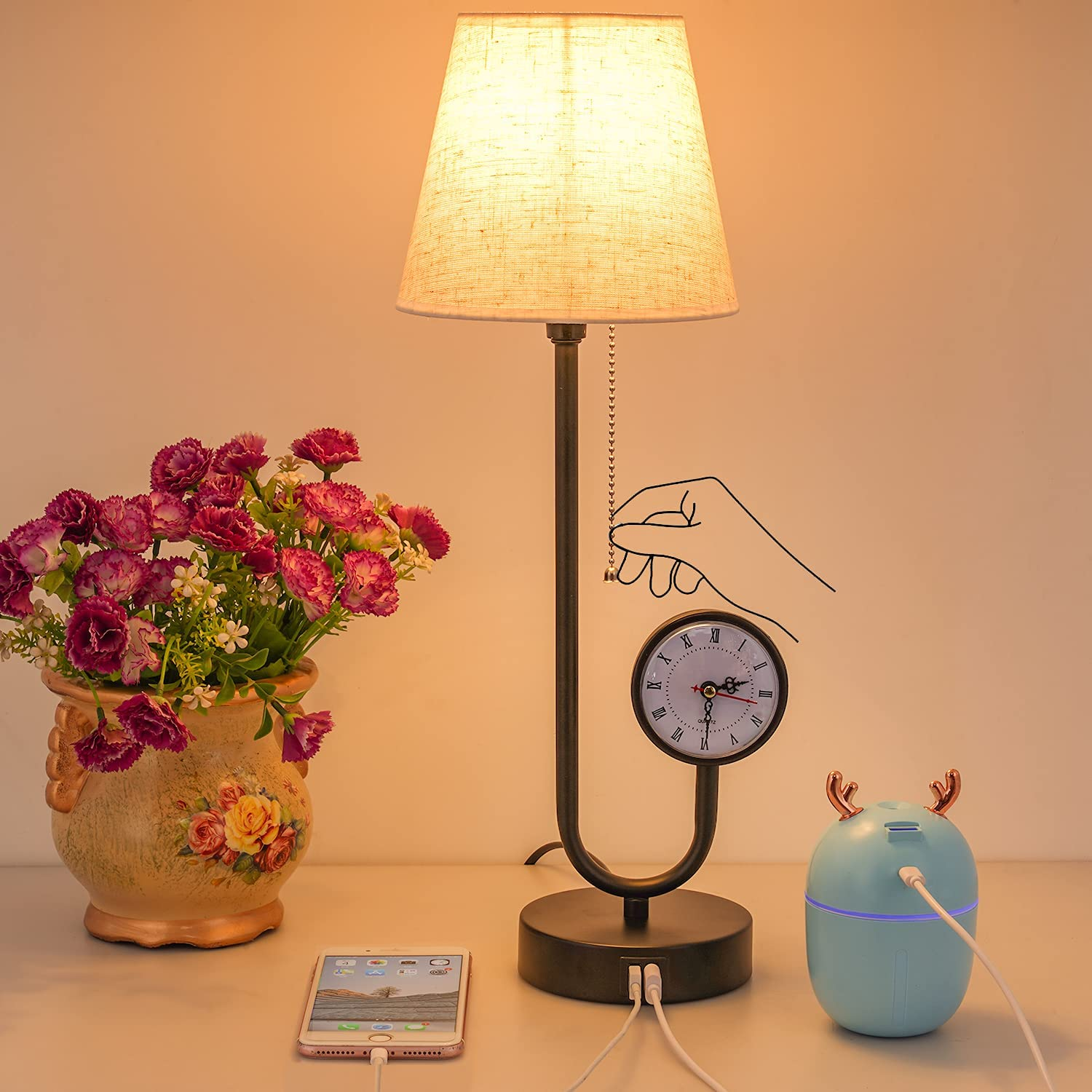 Table Lamp Bedside Lamps with Ports Large special price Atlanta Mall 2 USB lamp