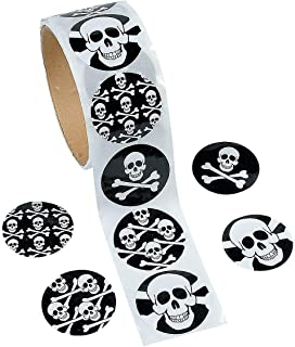 Fun Express - Skull Stickers (100ct) for Halloween - Stationery - Stickers - Stickers - Roll - Halloween - 100 Pieces