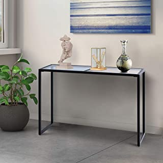 Tangkula Console Table Modern Tempered Glass Metal Frame Hallway Entryway Furniture Sofa Table, Blue& Tan (1, 43.5