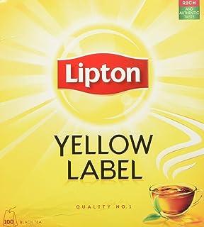 Lipton Schwarzer Tee Yellow Label ohne Hülle aus sonnengereiften, handgepflückten Teeblättern, 1er Pack 1 x 100 Teebeutel