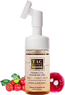 TAC - The Ayurveda Co. Vitamin C Foaming Face Wash with Silicone Cleanser Brush with Vitamin E & Hyaluronic Acid for Tonin...