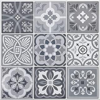 Art3d 5-Pack 3D Peel and Stick Backsplash Tile, 12x12 EVA Gray Talavera Mexican Tiles
