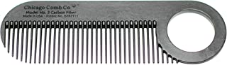 Chicago Comb Model 2 Carbon Fiber, Made in USA, Anti-static, 4 inches (10 cm) long, Fine-tooth, Pocket & Travel comb, for ...