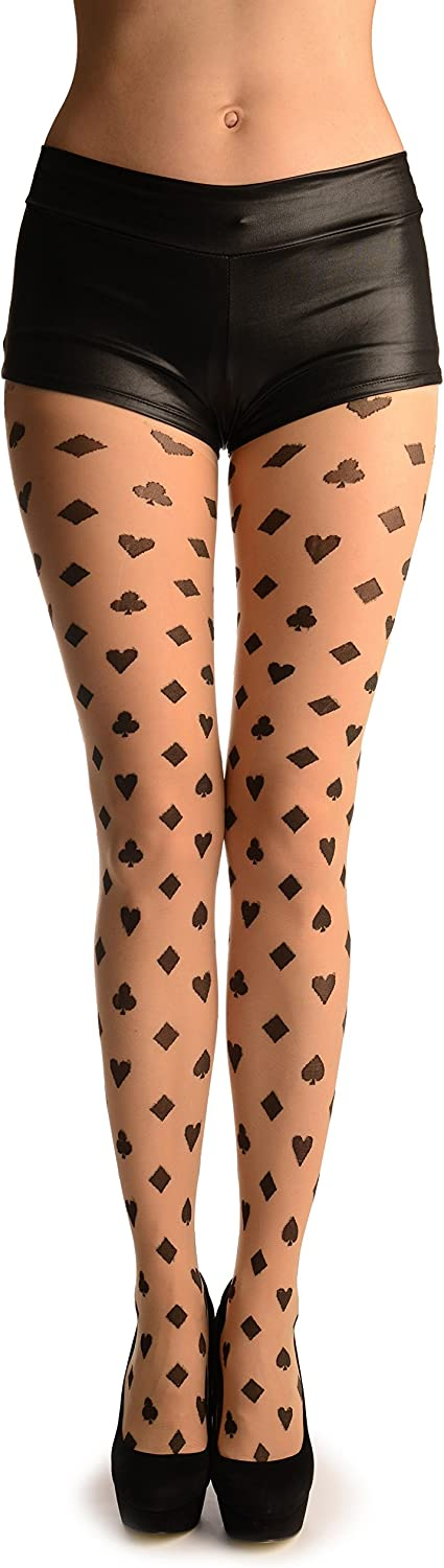 Black Woven Playing Suit On Nude - Pantyhose (Tights)
