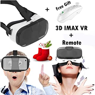 Virtual Reality Glasses, 3D VR Headset with Remote for 3D Movie Video Game Viewing Fit for iPhone Xs MAX XR X 8 7 6S Plus, Samsung Galaxy Note 9 8 S9 S8 S7 Edge, VR Goggles for iOS Android PC, White