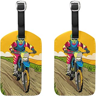 Jojogood Let's Ride Dirt Bikes Luggage Tags Bag Travel Labels for Baggage Suitcase 2PCS