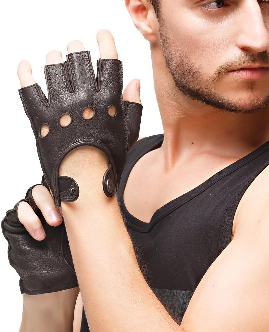 Nappaglo Men's Deerskin Fingerless まとめ買い特価 Gloves Leather 未使用品 Dr Half Finger