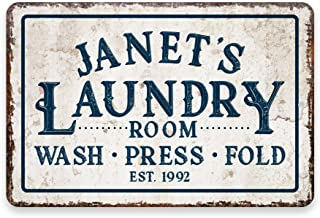 Pattern Pop Personalized Vintage Distressed Look Laundry Wash Press Fold Metal Room Sign