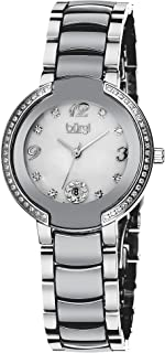 Burgi Women's Diamonds Watch - 8 Genuine Diamond Hour Markers with Crystal Bezel On Ceramic Bracelet - BUR072