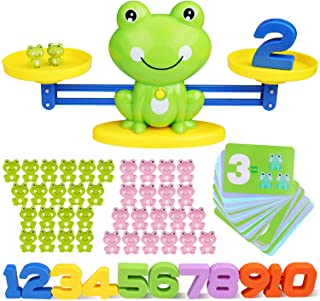 SPLAKS 82 Pack Balance Math Game Early Learning Education Toys Frog Balance Scale Mathematical Digital Addition Teaching T...