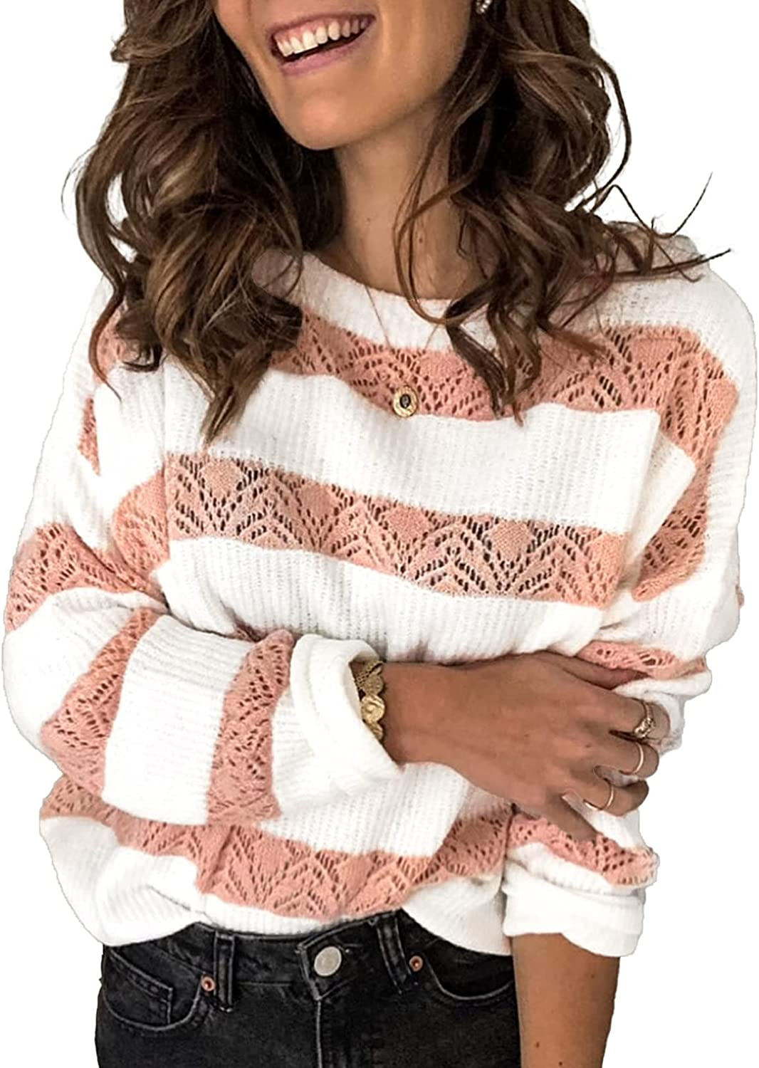 Astylish Women Casual Long Sleeve Pullover Sweater Loose Striped Crewneck Knit Tunic Top