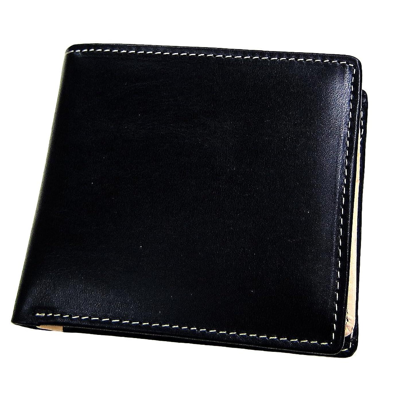 師匠ふさわしい側Maturi マトゥーリ ブライドルレザー×日本製ヌメ革 二つ折財布 MR001 BLACK 黒 ブラック