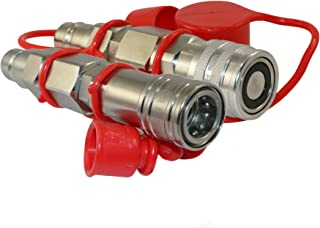 """TL36 Flat Face to Ag Style Quick Coupler Adapter Set 1/2"""" Body Size Convert Tractor Hydraulic to Bobcat Coupling (ISO 1602..."""