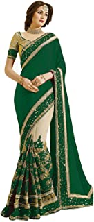 VintFlea Fashion Women's Heavy Net Embroidery Work Satin Wedding Party Wear Indian Chiffon Saree with Unstitched Blouse Piece