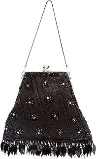 Black Victorian Embellished Beaded Diamante Evening Bag Purse Satin Metal Shoulder Strap Clutch Feather Gothic
