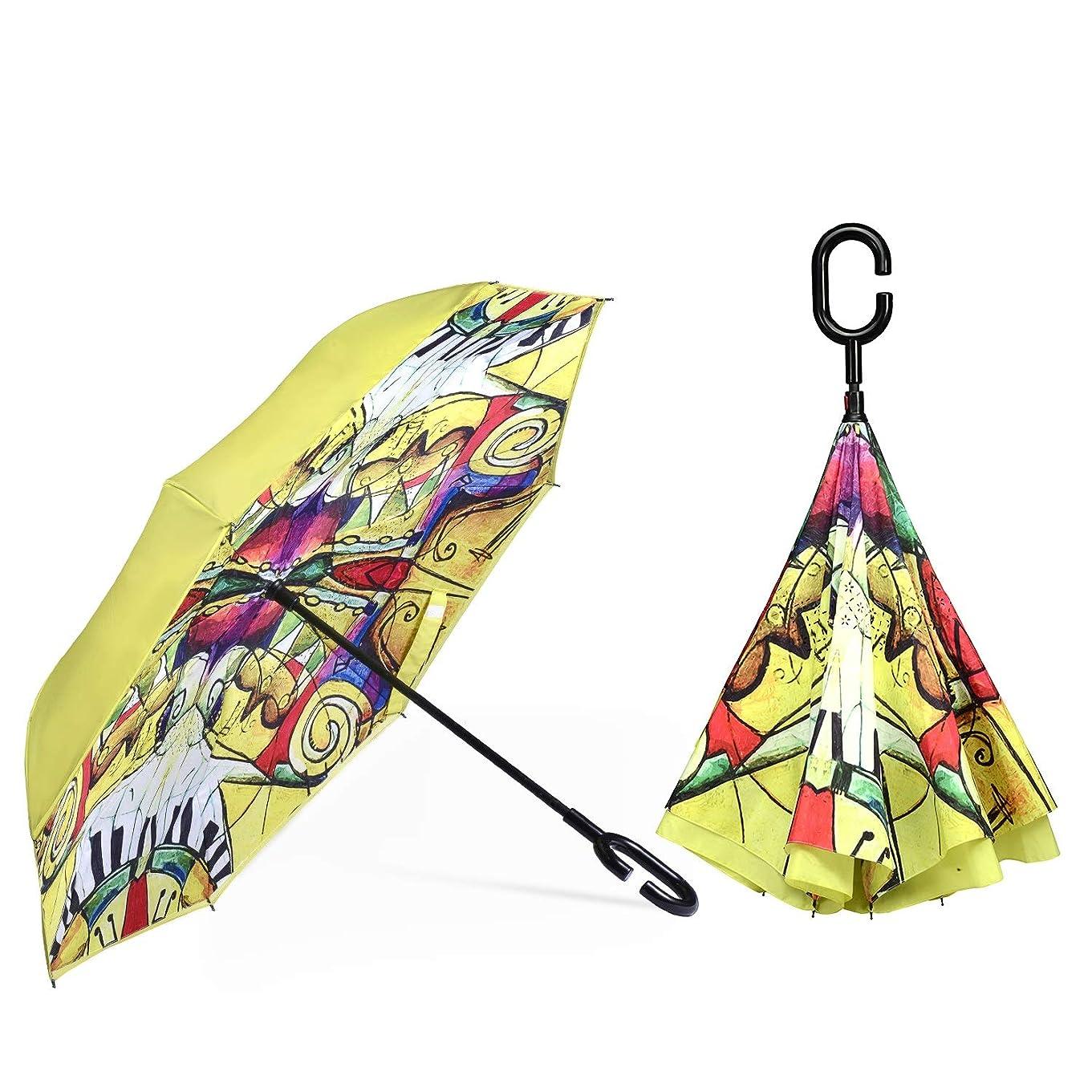 頭レンズ高速道路傘 逆さ傘 長傘 さかさま傘 逆折り式傘 逆転傘 UVカット 晴雨兼用 手離れC型手元 耐風傘 撥水加工 ビジネス用 車用 自立傘 二重傘 JFYJP (Color : イエロー, Size : フリー)