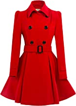 ForeMode Women Swing Double Breasted Wool Pea Coat with Belt Buckle Spring Mid-Long Long Sleeve Lapel Dresses Outwear