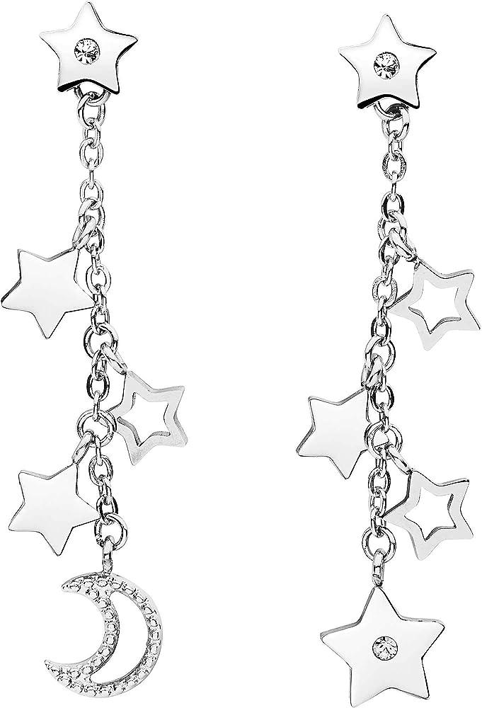 Brosway orecchini pendenti per donna in acciaio 316l con stelle e luna e cristalli swarovski BAH23