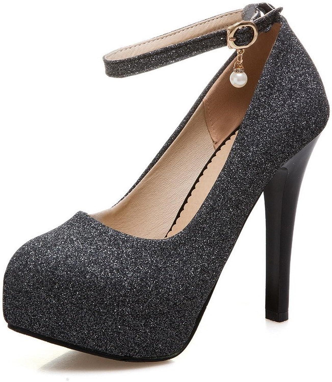 AllhqFashion Women's Solid Blend Materials High-Heels Round-Toe Buckle Pumps-shoes