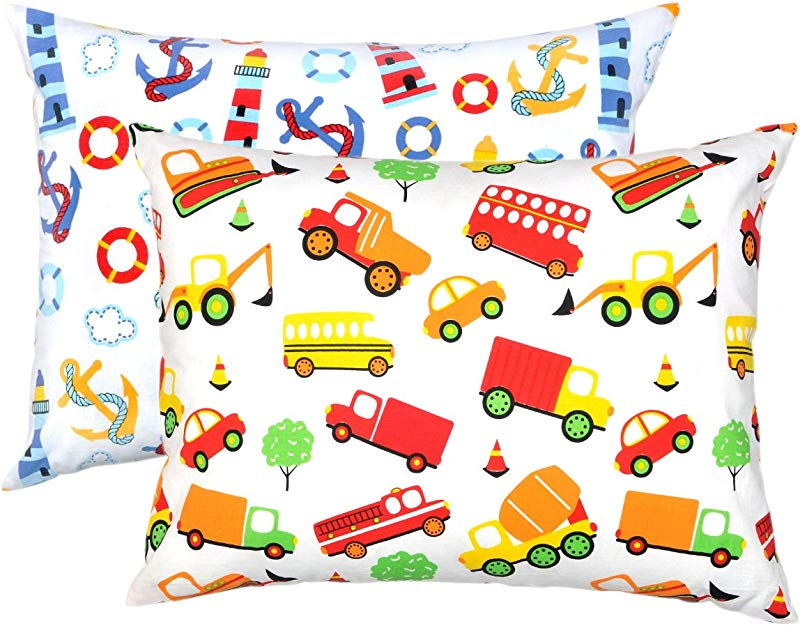 YourEcoFamily Toddler Pillowcases 100 Certified Organic Cotton Soft Comfy Colorful Naturally Hypoallergenic Boys 2 Pack