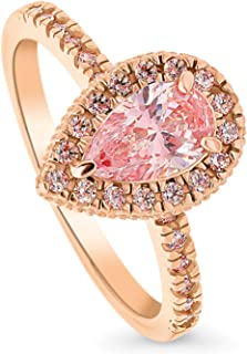 BERRICLE Rose Gold Plated Sterling Silver Halo Promise Engagement Ring Made with Swarovski Zirconia Morganite Color Pear Cut 1.09 CTW