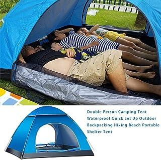 Senderismo Tienda de Campa/ña Familia 4 Personas Azul Marino y Amarillo Pesca y Al Aire Libre Tienda de Campa/ña Impermeable con Bolsa de Transporte para Picnic