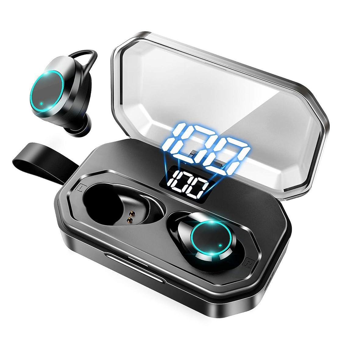 外向き基礎理論剣【最新版 LEDディスプレイ Bluetooth 5.0+EDR 】Bluetooth イヤホン 両耳 高音質 IPX7防水規格 ワイヤレス イヤホン 自動ペアリング ブルートゥース イヤホン マイク付き 軽量 Siri対応 Bluetooth 5.0 ヘッドホン ハンズフリー通話 CVC8.0ノイズキャンセリング