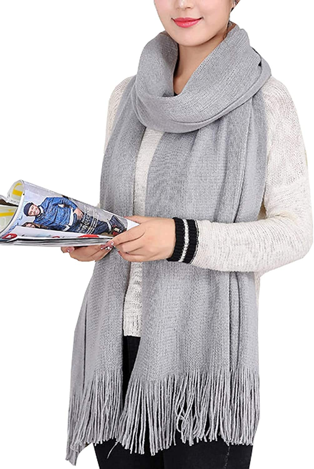 Women's Scarf Plaid Scarf Men'S and Women'S Top Necks MKLP Tassel Scarf Winter Ladies Scarf Large Warm Shawl Plaid Scarf Large Shawl Keep Warm and Prevent Cold Fringed