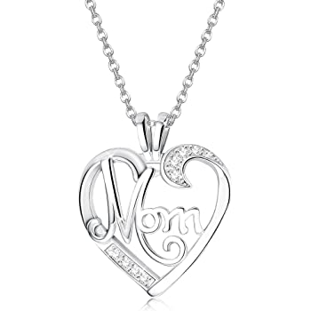 Mum Heart Pendant Necklace Rhinestone Silver Tone Chain Mothers Day Gift New