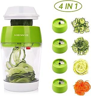 GWFVA Spiraliseur de légumes 4 en 1, Coupe-légumes à Mandoline à Main spiralé avec récipient, Coupe-légumes Hachoir à légu...
