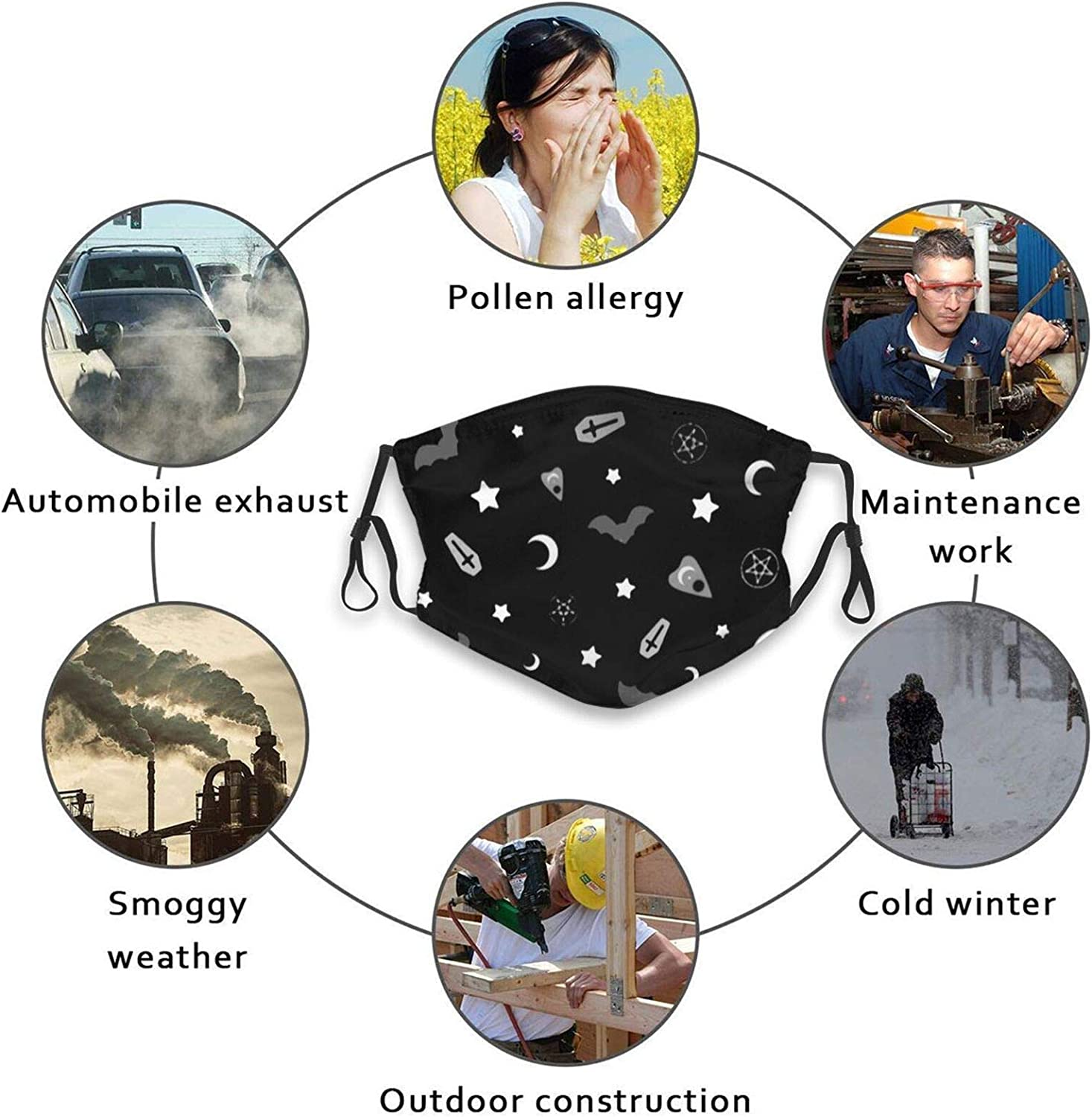 Goth Printed Face Mask Adjustable With 2 Filters Gift For Men And Women Balaclava Bandana