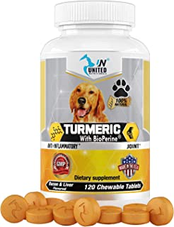 United Nutritionals Turmeric with BioPerine for Dogs, Anti Inflammatory, Antioxidant, Pet Mobility, Pain Relief, Prevents ...