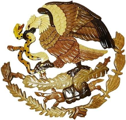 599825132 Handmade Art Intarsia Wooden Wall Plaque - Mexican Eagle(084)