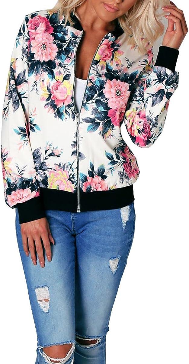 Misschicy Chaqueta de satén de manga larga con estampado floral y cremallera para mujer
