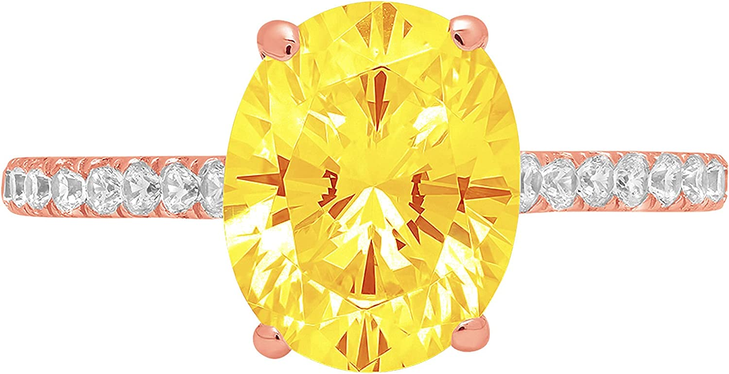 2.71ct Brilliant Oval Cut Solitaire with accent Natural Yellow Citrine Gemstone Ideal VVS1 Engagement Promise Anniversary Bridal Wedding Ring Real 14k Pink Rose Gold