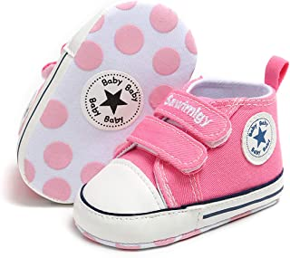 Tutoo Toddler Baby Boys Girls Star High Top Sneaker Infnat Fashion Canvas Prewalker First Walker Shoes Rubber Sole