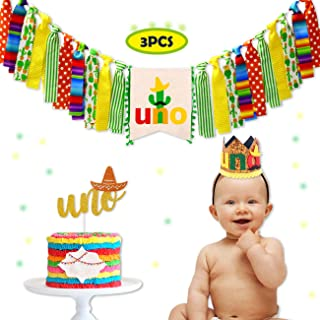 Uno Fiesta Cactus 1st First Birthday Decoration Set One Highchair birthday Banner Fun to Cake Topper and Crown Birthday Hat for Photo Booth Props Birthday Souvenir and Gifts for Kids