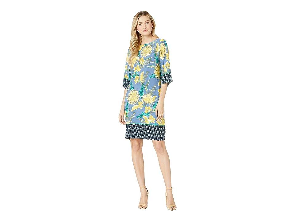 London Times Kimono Sleeve Shift Dress (Denim/Yellow) Women