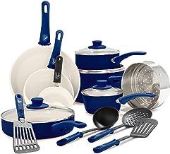 GreenLife CC002378-001 Soft Grip 16 Piece Ceramic Non-Stick Cookware Set, Blue