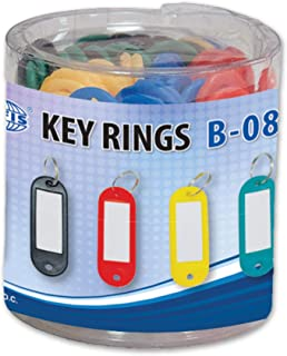 FIS Key Rings 50 Pieces Per Pack, Assorted Colors, 6 x 2.1 cm Size - FSKCB-08