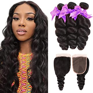 Loose Wave 3 Bundles with Closure 100% Unprocessed Virgin Human Hair Brazilian Hair Bundles with Lace Closure Free Part (18 20 22+16) Natural Color