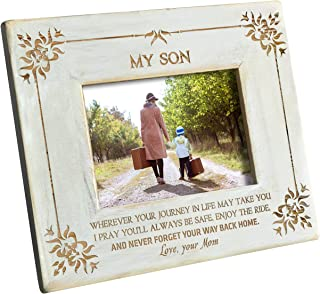 K KENON Engraved Wooden Frame for Son,Personalized Natural Wood Photo Frame Gift for Daughter Son Graduation Gift from Mom (for Son from Mom)