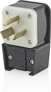 Leviton 9332-P 30 Amp, 125/250 Volt, Straight Blade, Plug, Industrial Grade, Non-Grounding, Angle, Black