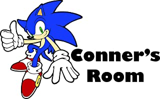 Personalized Names Custom Name Sonic The Hedgehog Show Cartoon Classic Video Game Movie Character Wall Decal Decals Stickers Sticker For Kids Rooms Walls - 90s Cartoons kids Size 15x20 inch