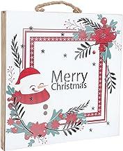 Mobestech Sinal Da Porta De Madeira Do Natal Feliz Natal Do Boneco de Neve Pattern Placa Pendurada Varanda Luz Up Natal Si...