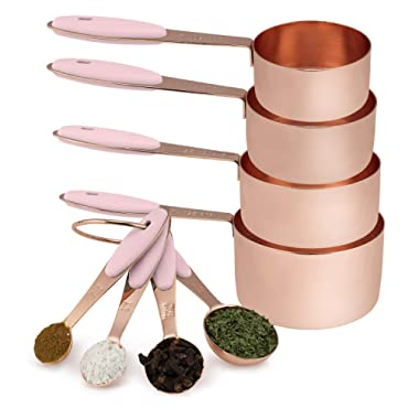 Cook with Color 8 Piece Copper Measuring Cups and Measuring Spoon Set Stainless Steel with Soft Touch Silicone Handles, Nesting Liquid Measuring Cup Set or Dry Measuring Cups Set (Pink)