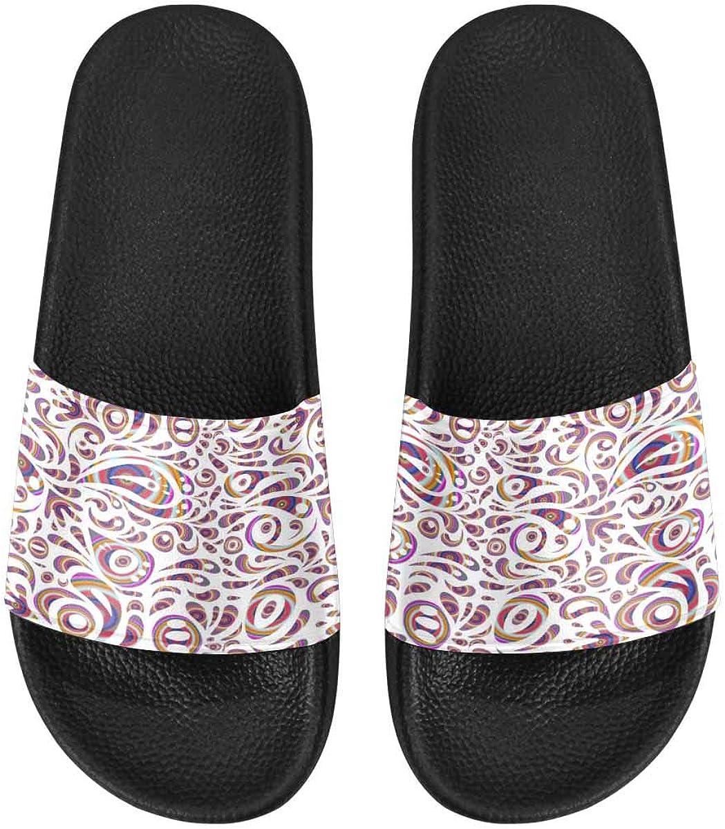 InterestPrint Women's Casual Slide Sandals for Indoor Outdoor Christmas Tree Pattern