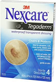 Nexcare Tegaderm Transparent Dressings 4 Inches X 4-3/4 Inches 4 Each (Pack of 3)